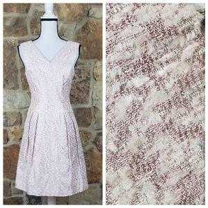 NEW Kay Unger 6 Metallic Pleated Boucle Dress
